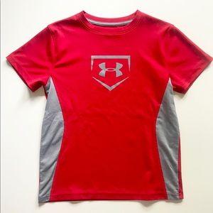Boys Under Armour Red Baseball Shirt Sz Small EUC